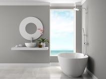 Interior do banheiro com rendição da opinião 3D do mar Foto de Stock Royalty Free