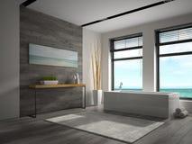 Interior do banheiro com rendição da opinião 3D do mar Imagens de Stock Royalty Free