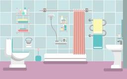 Interior do banheiro com um chuveiro ao estilo do plano Ilustração do vetor Imagem de Stock
