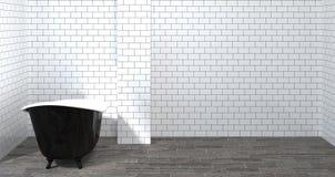 Interior do banheiro do molde do modelo, toalete, chuveiro, rendição home moderna do projeto 3d para o banheiro branco da telha d ilustração do vetor