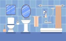 Interior do banheiro no azul em um estilo liso Fotografia de Stock