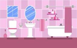 Interior do banheiro para uma menina glamoroso em cores cor-de-rosa Fotos de Stock