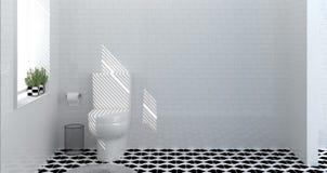 Interior do banheiro do toalete, chuveiro, rendição home moderna do projeto 3d para o banheiro branco da telha do fundo do espaço ilustração stock
