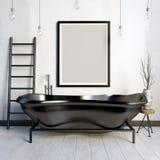 Interior do banheiro Zombaria do quadro acima ilustração 3D Fotos de Stock Royalty Free