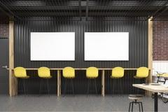 Interior do café com os dois cartazes horizontais Imagem de Stock Royalty Free