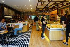 Interior do café em ShenZhen do centro Fotografia de Stock