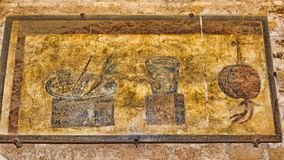 Interior do Caseggiato del Termopolio: Ainda fresco decorativo da vida Fotografia de Stock Royalty Free