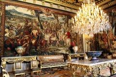 Interior do castelo Fontainebleau, França foto de stock
