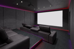 Interior do cinema em casa ilustração 3D Fotos de Stock Royalty Free