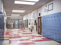 Interior do corredor da escola Fotografia de Stock Royalty Free
