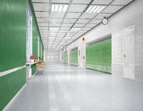 Interior do corredor da escola fotografia de stock royalty free