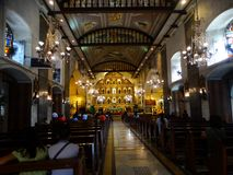 Interior do del Santo Nino da basílica na cidade de Cebu, Filipinas Fotografia de Stock