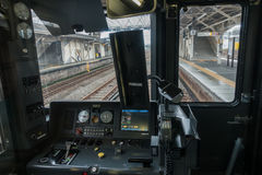 Interior do detalhe da opinião dianteira do carro do controlador do trem de Japão Fotografia de Stock Royalty Free
