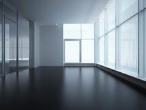 Interior do escritório com parede de vidro ilustração do vetor