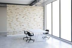 interior do escritório 3d com janelas grandes e vista ilustração royalty free