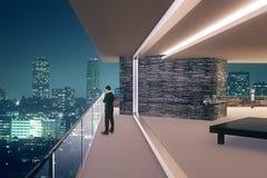 Interior do escritório na noite Imagens de Stock Royalty Free