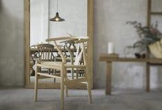Interior do estilo do vintage com reflexão da cadeira imagem de stock