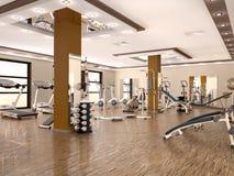 Interior do gym moderno novo com equipamento ilustração stock