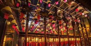 Interior do homem Mo Temple em Hong Kong foto de stock royalty free