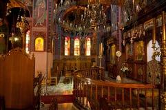 Interior do monastério de Panagia Kalyviani o 25 de julho em Heraklion na ilha da Creta, Grécia O museu de M Imagens de Stock