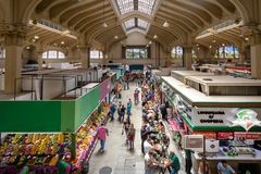 Interior do Municipal municipal de Mercado do mercado em Sao Paulo do centro - Sao Paulo, Brasil Imagens de Stock Royalty Free