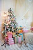 Interior do Natal nas cores pastel Fotos de Stock