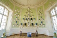 Interior do palácio de Rundale O armário oval da porcelana Foto de Stock Royalty Free
