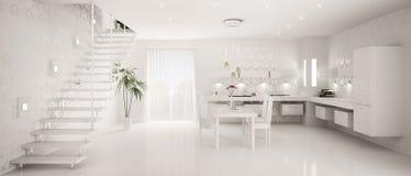 Interior do panorama moderno 3d da cozinha Foto de Stock