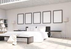 Interior do quarto com quadros vazios Fotografia de Stock