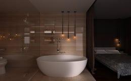 interior do quarto e do banheiro da rendição 3D Fotos de Stock Royalty Free