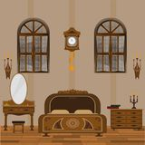 Interior do quarto do estilo antigo com revestimento de madeira ilustração royalty free