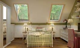 Interior do quarto no verde do estilo de Provence ilustração stock
