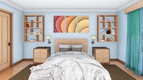 Interior do quarto do projeto moderno com cama de casal Fotografia de Stock Royalty Free