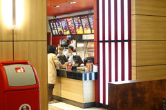 Interior do restaurante do fast food Foto de Stock