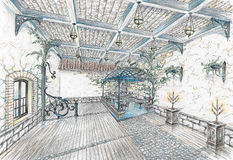 Interior do salão do restaurante no estilo do stree da cidade Imagem de Stock Royalty Free