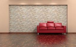 Interior do sofá vermelho e da parede de pedra Imagem de Stock Royalty Free
