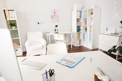 Interior of Doctors Office in Modern Clinic royalty free stock photo
