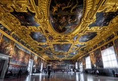 Interior of the Doge`s Palace in Venice, Italy. Venice, Italy - May 20, 2017: Interior of the Doge`s Palace Palazzo Ducale, the Higher Council Hall. Doge`s stock photos