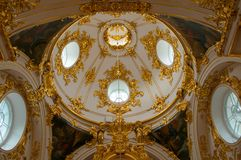 Interior of the dome of baroque Hermitage Church in Saint Peters Stock Photography