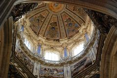 Interior dome Cathedral Salamanca royalty free stock photos