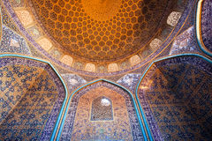 Interior of the dome and central hall of the Sheikh Lotfollah Mosque in persian style Royalty Free Stock Photography