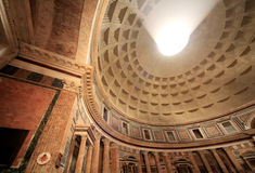 Interior Dome, Column and Walls of Roman Pantheon Stock Photo