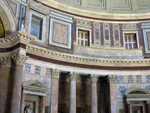 Interior and dome of the Pantheon temple of all pagan gods in Ro Royalty Free Stock Photos
