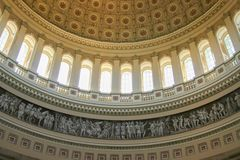 Dome of US Capitol building. Interior dome of US Capitol building in Washington DC - art, mosaic, windows, circular, ceiling Royalty Free Stock Images
