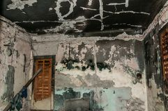 Interior of the domestic abandoned house damaged and burned in the fire accident with black soot and grime on the walls and ceilin. G royalty free stock image