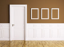 Interior with door and frames Royalty Free Stock Image