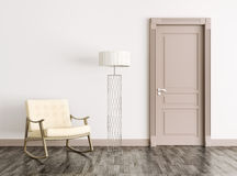 Interior with door and rocking chair 3d rendering Royalty Free Stock Images
