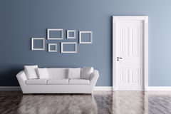 Interior with door and sofa Royalty Free Stock Photography