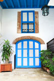 Interior door and window of colonial house, Havan stock images