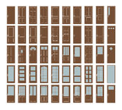 Interior Doors Collection. 50 Vector Doors Set. Big Interior Doors Design Collection Royalty Free Stock Photography